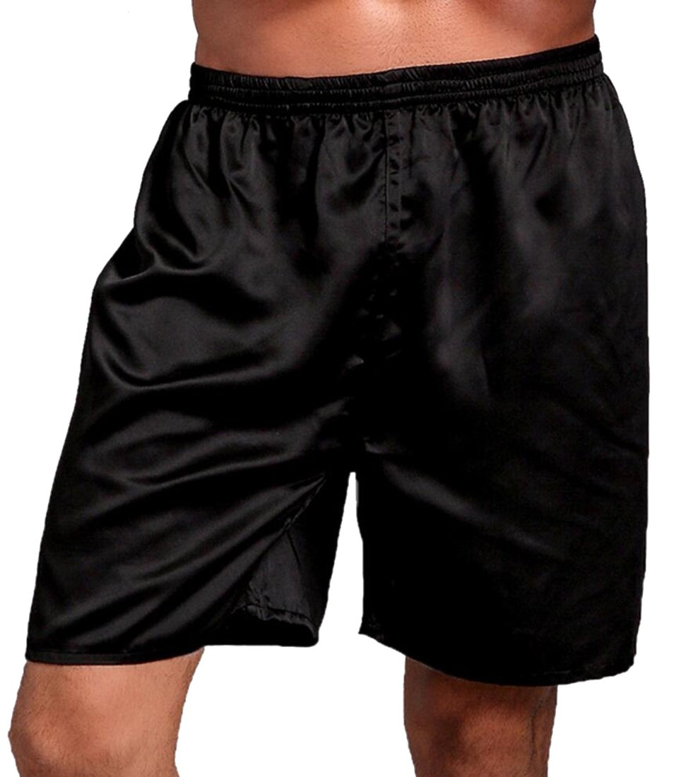 SYTX Mens Comfy Solid Color Silk Satin Boxer Shorts Lounge Shorts Pajama Bottom Black 2XL