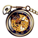 Lancardo Men's Retro Antique Bronze Skeleton Hand-Wind Mechanic Pocket Watch With Chain