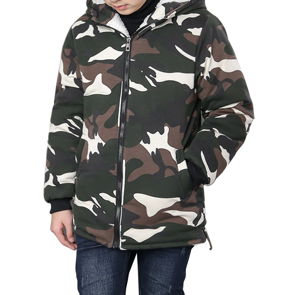 Phorecys Gar/çon Manteau Camouflage Automne Mi-Hiver Doublure Epais avec Capuche Zip