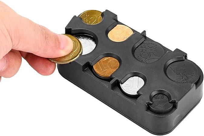VIMOER Bo/îte de rangement pour pi/èces de monnaie en aluminium plastique Euro Dollar Coin Box Case Pocket