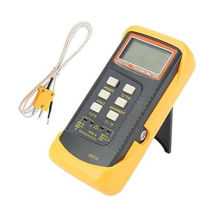 Gazechimp Termómetro digital profesional con 2 termopares tipo K externo Herramientas