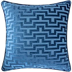 Homey Cozy Modern Maze Throw Pillow Cover,Indigo Blue Luxury Velvet Soft Fuzzy Cozy Warm Slik Large Sofa Couch Cushion Case 18x18, Cover Only