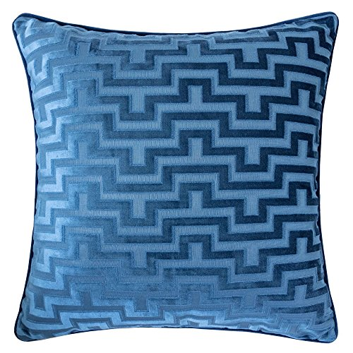 (Homey Cozy Modern Maze Throw Pillow Cover,Indigo Blue Luxury Velvet Soft Fuzzy Cozy Warm Slik Large Sofa Couch Cushion Case 18x18, Cover)