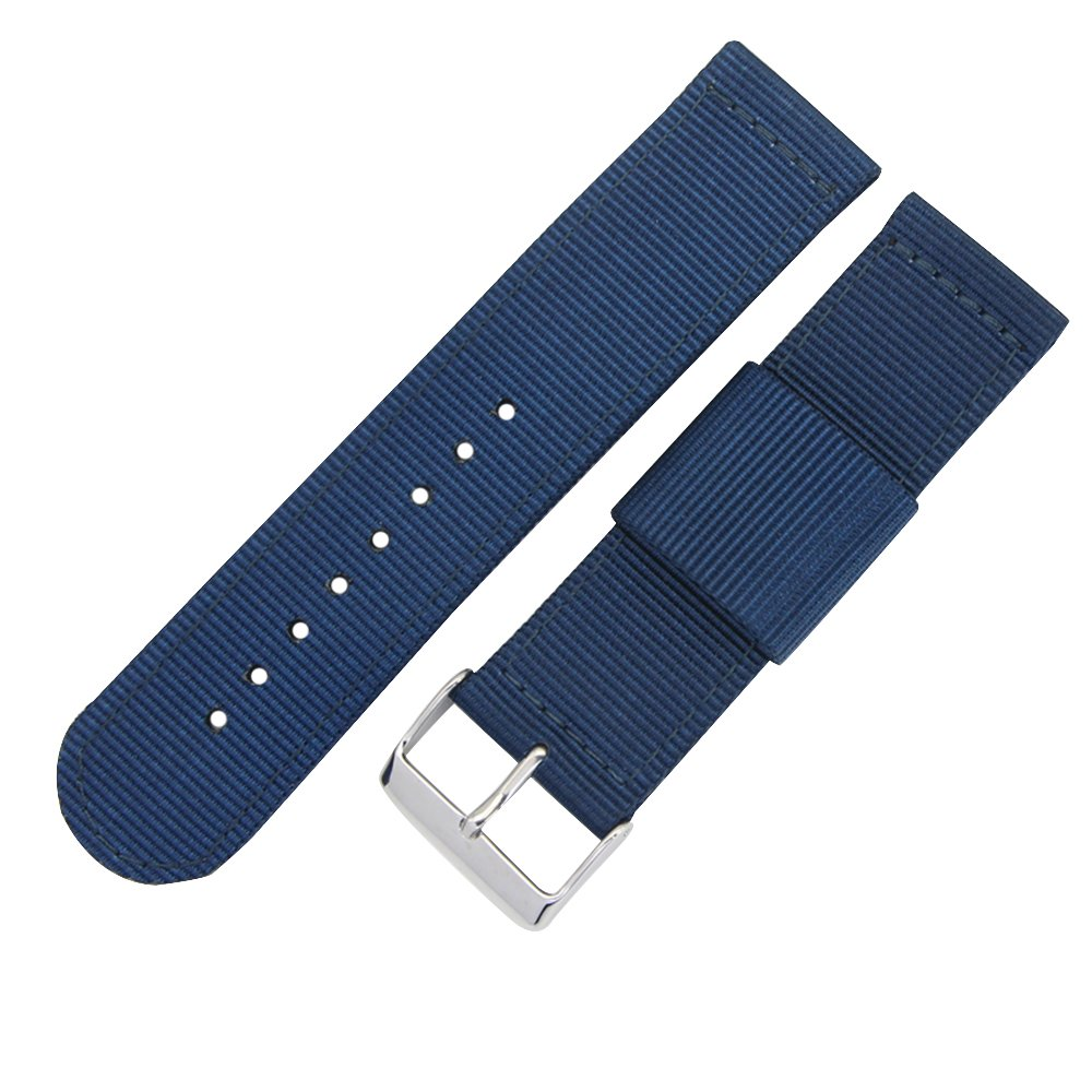 22mm Blue High-end Nato style Ballistic Nylon Canvas Watch Band Strap Replacement for Men Braided