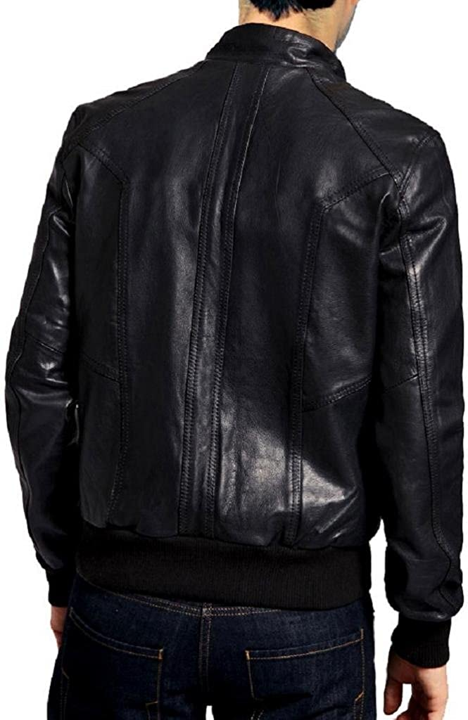 The Leather Factory Mens Wild Lambskin Leather Jacket with Knitted Hem /& Cuffs
