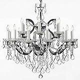 Swarovski Crystal Trimmed Chandelier! 19th C. Baroque Iron & Crystal Chandelier Lighting H 28″ x W 30″ For Sale