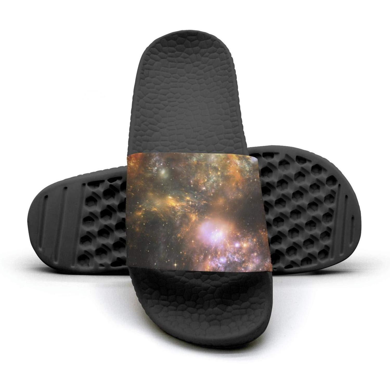 Womens Casual Slipper Starry Sky Nebula Space Galaxy Memory Foam Open Toe Flat Shower Slippers