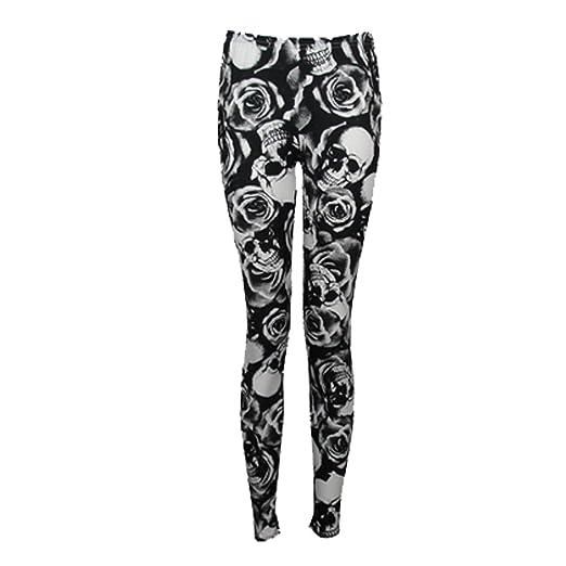 42ae13e7ce1a Amazon.com  Girls Legging Skull   Roses Print Stylish Fashion Party ...