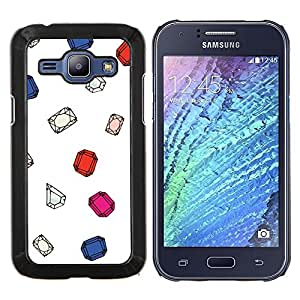 Las piedras preciosas Gema Diamante Rubí Blanca- Metal de aluminio y de plástico duro Caja del teléfono - Negro - Samsung Galaxy J1 / J100