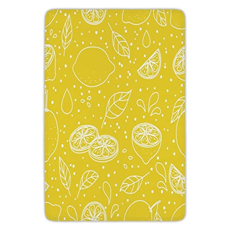 Amazon Com Bathroom Bath Rug Kitchen Floor Mat Carpet Yellow And