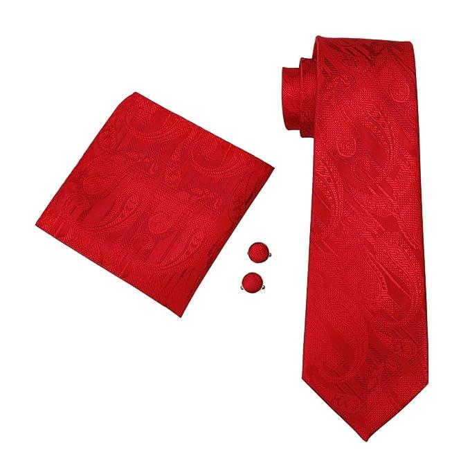 RXBGPZLD Caballero Corbata Rojo Paisley 100% Seda Jacquard Pañuelo ...