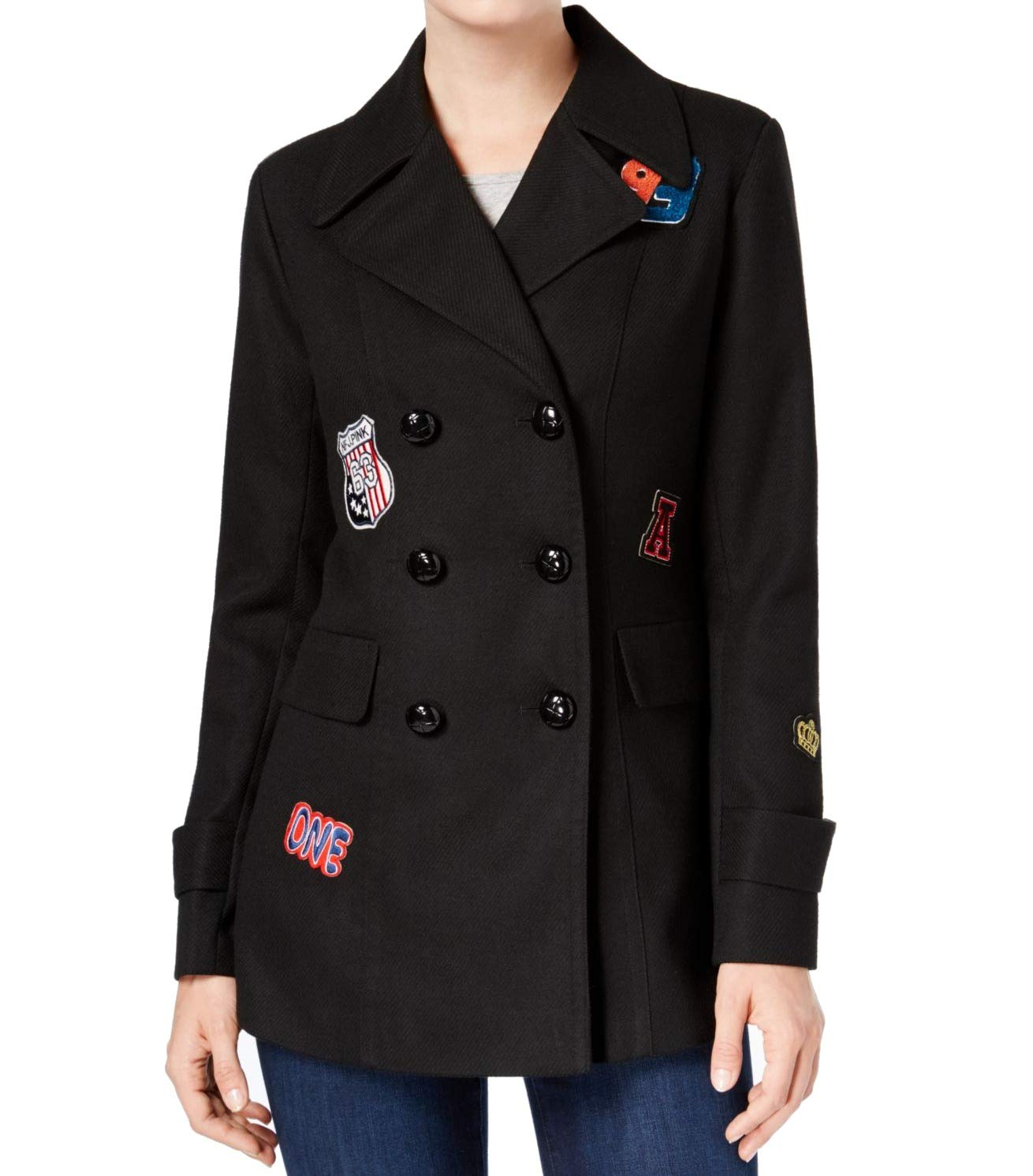 BCX Women's Medium Patched Double Breasted Jacket Black M