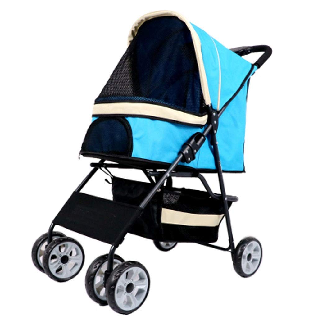 bluee MSNDD Pet Cart Dog Cart Folding Cart Cat Cart Teddy Dog Cart(Four Wheels) (color   bluee)