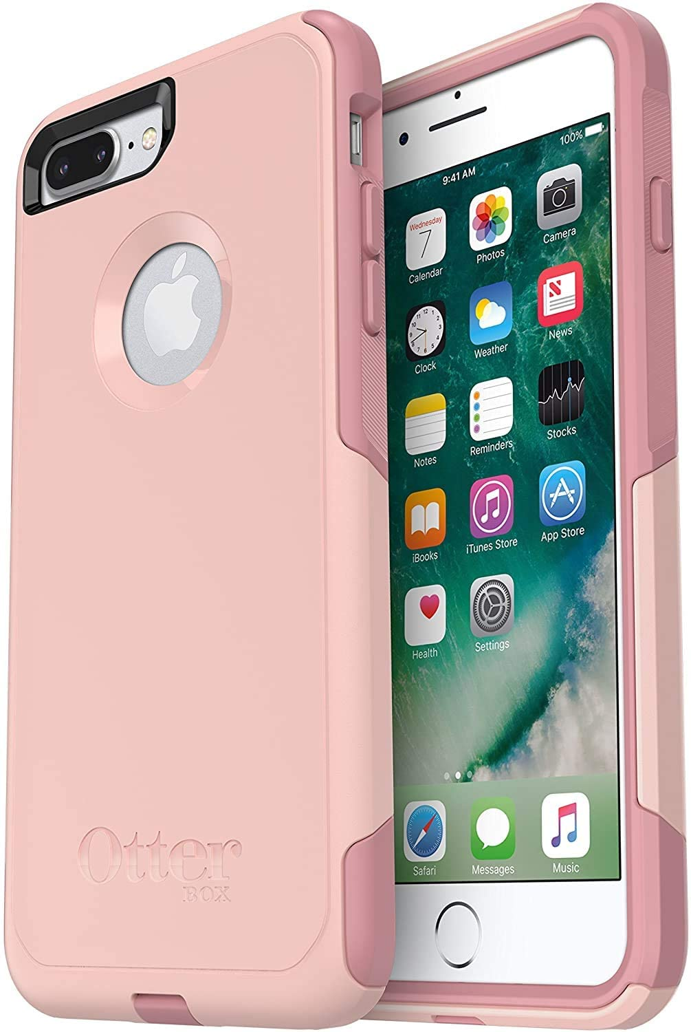 OtterBox Commuter Series Case for iPhone 8 Plus & iPhone 7 Plus (ONLY) - Non-Retail Packaging - Ballet Way (Pink Salt/Blush)