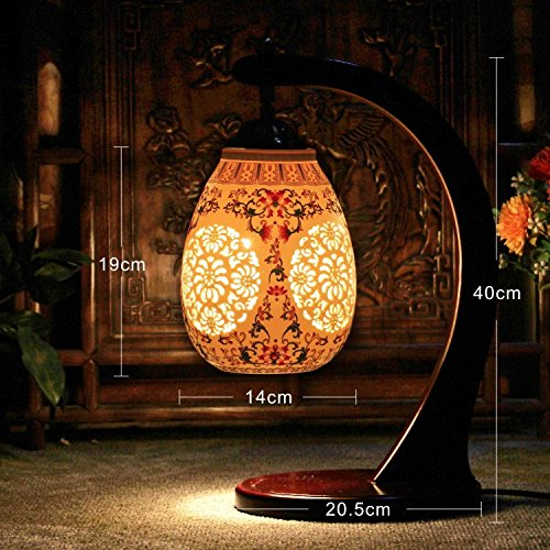 Hand Painted Porcelains Chinese Retro Table Lamp Bedroom Bedside Light Living Room Study Lamp Decoration ()