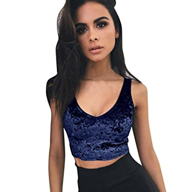 85a94c61b76 Amazon.com  Tsmile Women Vest Summer Fashion Sleeveless Tank Tops V-Neck  Blouse Tube Crop Tops Shirt Camisole Vest  Clothing