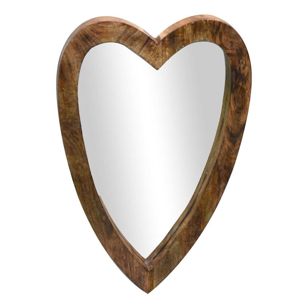Indian Heritage Wooden Mirror 16x25 Mango Wood Heart Shape Mirror Frame in Dark Wood Finish