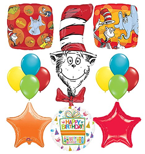 Dr Seuss Cat In The Hat Birthday Party Supplies and balloon Bouquet Decorations]()