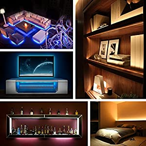 Megulla Multi-Color Bias Lighting Kit Ambient/Accent Lighting with Wireless Remote-USB LED Backlight RGB Adhesive Strip for Flat Screen HDTV LCD,Desktop Monitors -Black, Mini (39in)