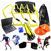 New Team Speed Agility & Quickness Training Kit with Instructional DVD | High School & College | Football, Soccer, Basketball, Baseball, Supports All Sports | Hurdles, Ladder, Power Resistor, More!