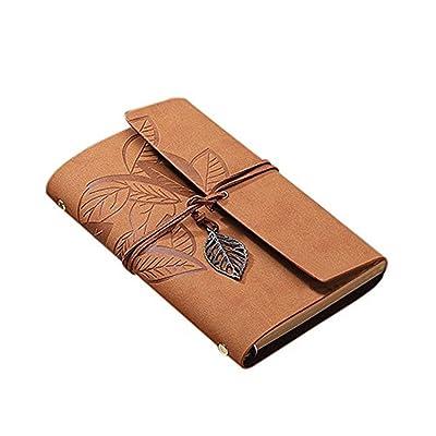 Cosanter Vintage Portátil 160 Página Cuaderno de Hojas Sueltas Loose Leaf Caqui Funda de Piel Sintética Diario de Viaje para Regalo: Oficina y papelería
