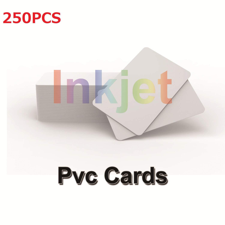Tarjetas de identificación de PVC imprimibles por inyección de tinta (250pcs) Funciona con impresoras de inyección de tinta Epson y Canon, CR80 30 ...