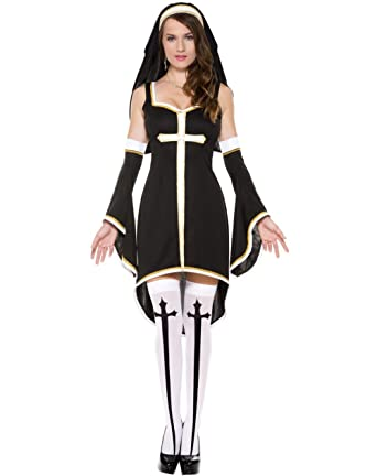 ae657337ed5 Nun Sexy Costume - Women s Hot Sexy Naughty Nun Halloween Costume for  Adult  Amazon.co.uk  Clothing