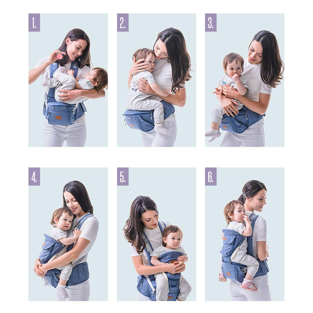 SUNVENO Baby Carrier with Detachable Hipseat /& Hood Ergonomic Infant Backpack Front Carriers Gray