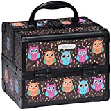 Joligrace Makeup Train Case Small Jewelry Box Mini for Girls Kids Hair Accessories Cosmetic Storage Trays with Mirror and Lock Owl Black
