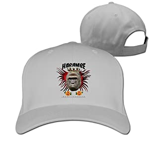Adult Rip Harambe Gorilla Crown Cotton Adjustable Peaked Baseball Cap Ash
