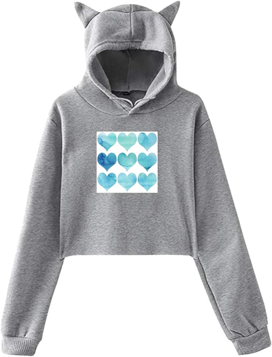 Fashion Sweatshirt Sweater Gray Personality Girl Cat Ears Umbilical Hoodie