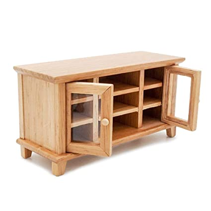 Odoria 1:12 Miniature Wooden TV Bench with Glass Doors Dollhouse Furniture Accessories