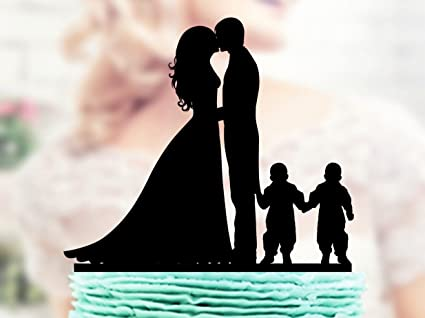 Amazon.com: Family Wedding Cake Topper Bride And Groom With Twins ...