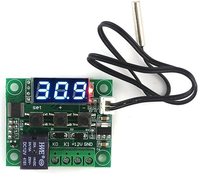 Roeam Controlador de temperatura con sonda digital,W1209 Tablero control de temperatura para Eclosi/ón//Incubadora//Aire acondicionado,LED azul