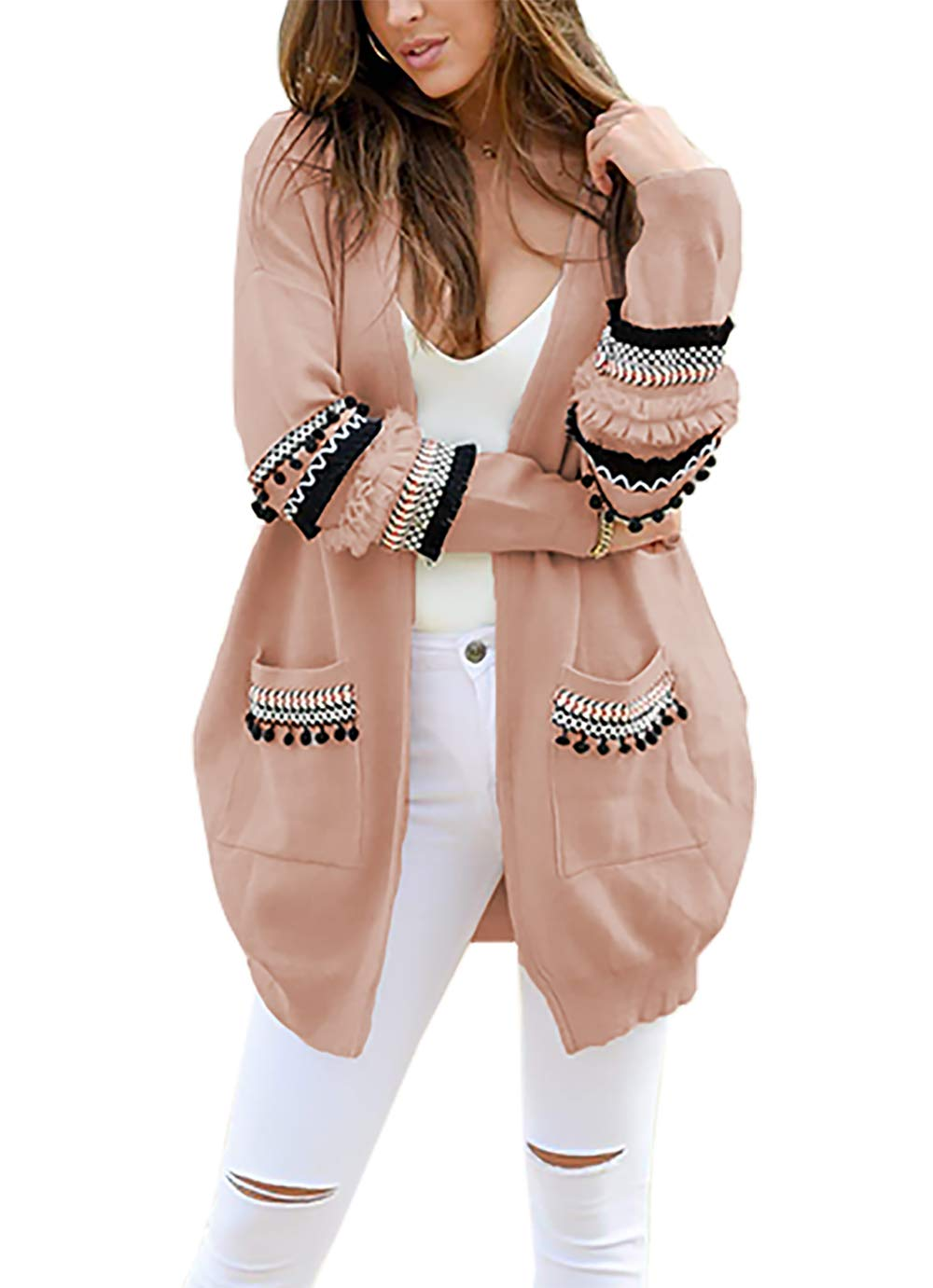 BTFBM Women Boho Long Sleeve Open Front Knit Cardigan with Pockets Bohemian Knitted Sweater Outwear Coat Tops (Pink, Small)
