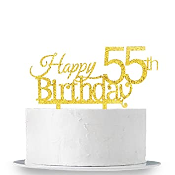 Innoru Happy 55th Birthday Cake Topper 55 Anniversary Gold Glitter Party Decoration