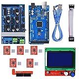 BIQU Mega2560 Control Board + LCD 12864 Graphic Smart Display Controller Module + Ramps 1.6 Mega Shield+A4988 Stepstick Stepper Motor Driver with Heat Sink for 3D Printer Arduino Reprap