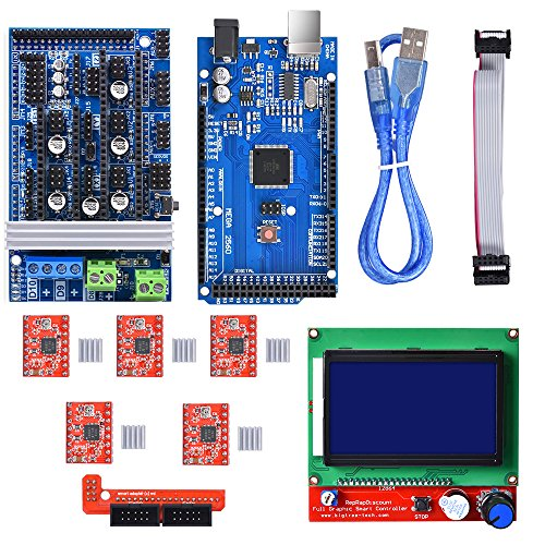 BIQU Mega2560 Control Board + LCD 12864 Graphic Smart Display Controller Module + Ramps 1.6 Mega Shield+A4988 Stepstick Stepper Motor Driver with Heat Sink for 3D Printer Arduino Reprap by BIQU