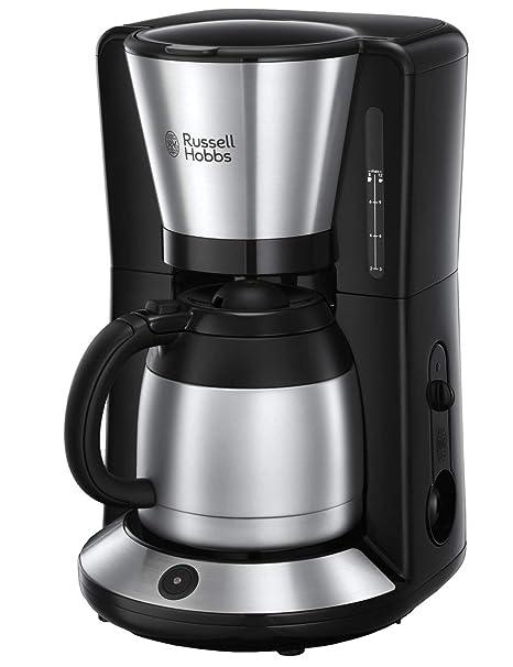 Russell Hobbs Textures Plus - Cafetera de Goteo, Jarra Cafetera Térmica para 12 Tazas, Inox, 1100 W, Gris - Referencia 24020-56