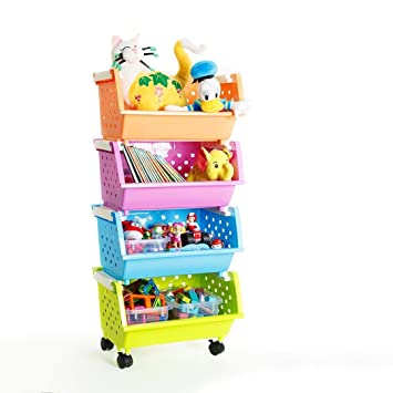 MAGDESIGNER 4 Baskets Kidsu0027 Toys Chest With Wheels Can Move Everywhere Toy  Storage Bins Organizer