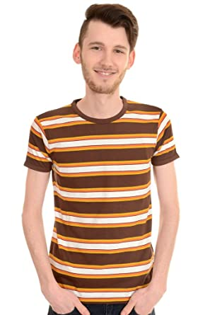 ffeb3908108606 Run and Fly Mens 60s Retro Brown Engineered Striped T Shirt Brown Small