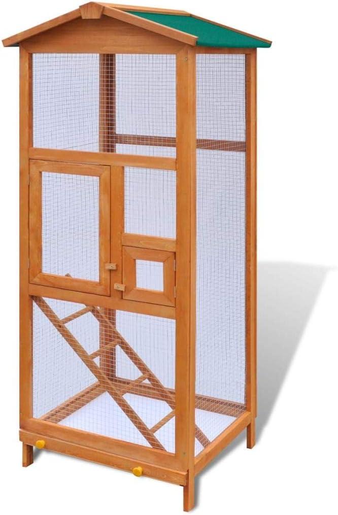 pedkit Jaula para Pájaros Jaula de Aves Canarios Jaula para pájaros de Madera 65x63x165 cm
