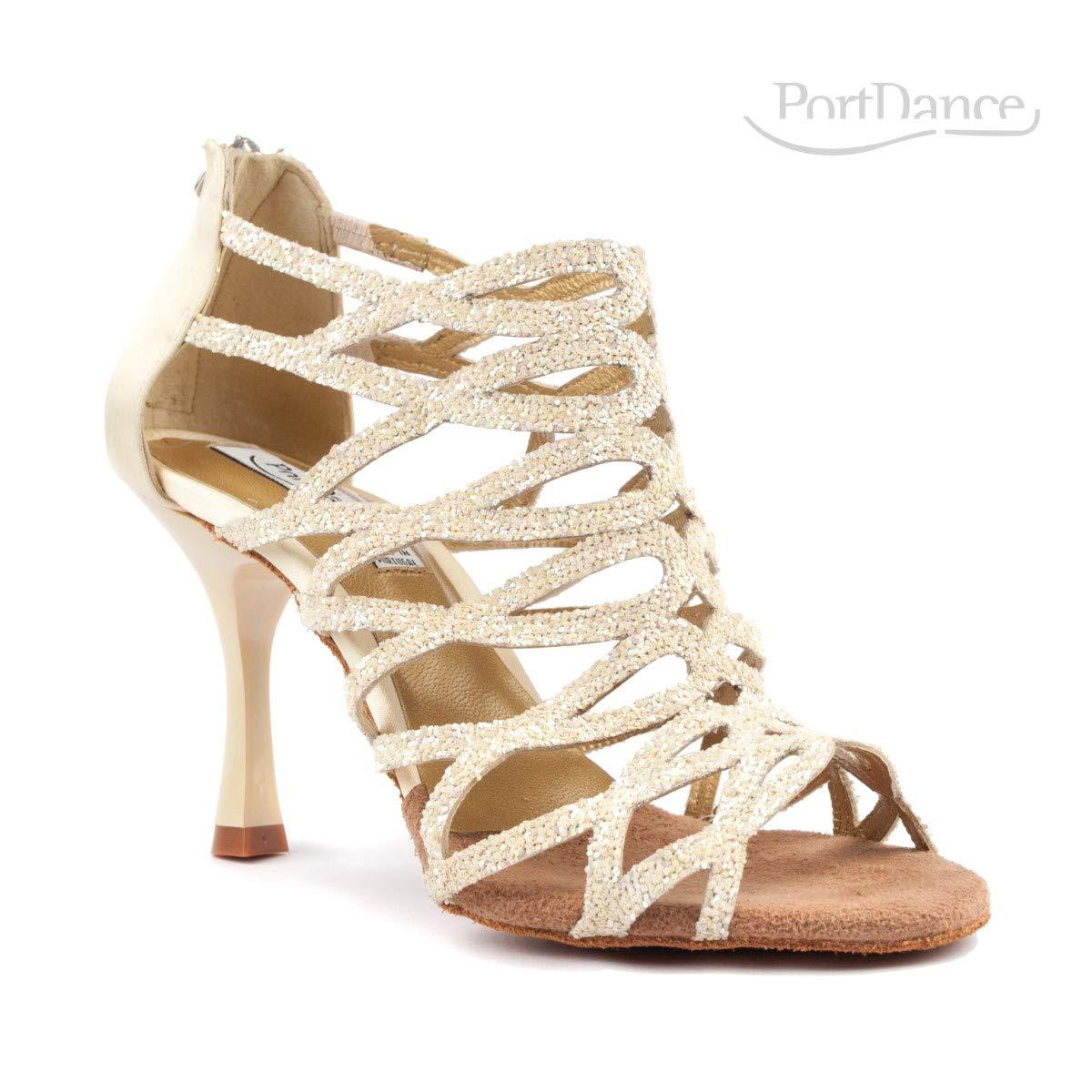 Portdance Femmes Chaussures de Danse PD803 Pro Satin//Glitter Champagne - Fabriqu/é au Portugal 7 cm Flare Petit