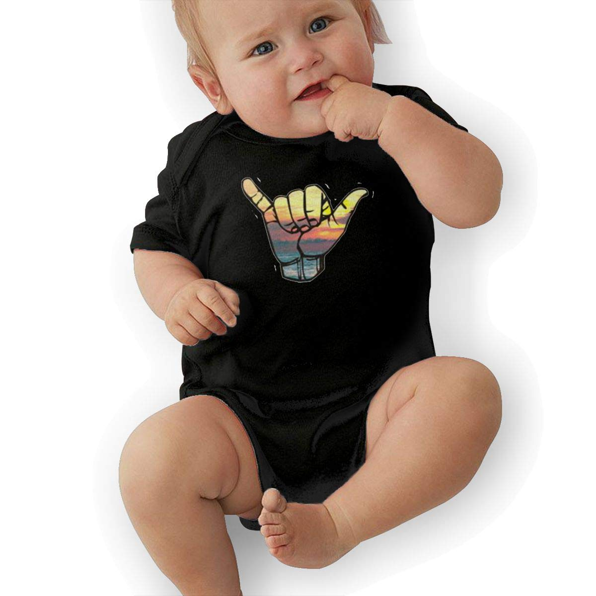 Dfenere Rocker Graphic Newborn Baby Short Sleeve Bodysuit Romper Infant Summer Clothing