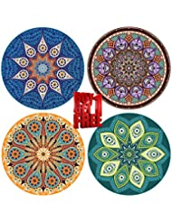 "ENKORE Absorbent Coaster For Drinks - 4 Pack Large 4.3"" Size Ceramic Stone With Cork Back - TODAY BUY 1 GET AN EXTRA FREE, YOU GET 8 COASTERS IN THE SET,No Holder - Mandala Design Style Up Home Decor"