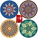 ENKORE Absorbent Ceramic Stone Coaster For Drinks - MANDALA, 4 Pack Large 4.3'' Size With Cork Back - TODAY ONLY, GET ANOTHER FREE SET SENT TO YOU AUTOMATICALLY, YOU GET TOTALLY 8 COASTERS