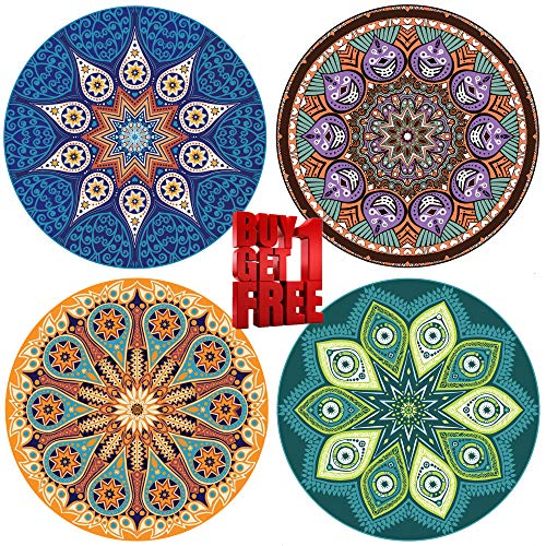 ENKORE Absorbent Ceramic Stone Coaster For Drinks - MANDALA, 4 Pack Large 4.3