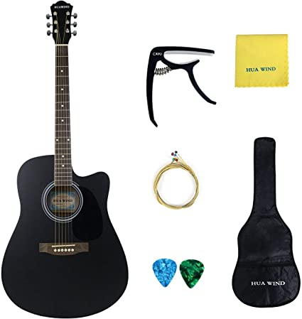 Hua viento tamaño completo cuerdas de acero de guitarra acústica ...