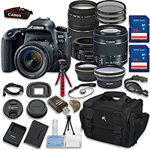 Canon EOS 77D DSLR Camera with Canon EF-S 18-55mm IS STM Lens + Canon EF 75-300mm f/4-5.6 III Lens + Canon EF 50mm f/1.8 STM Lens + Accessory Kit - International Version