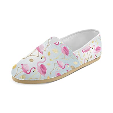 Pink Flamingos And Leaves Canvas Slip-on Loafer For Men